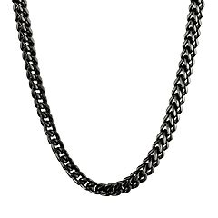 LYNX Black Ion-Plated Stainless Steel Foxtail Chain Necklace - 22 in -  Men