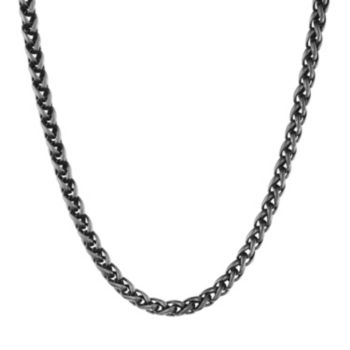 LYNX Black Ion-Plated Stainless Steel Wheat Chain Necklace - 24 in. -  Men