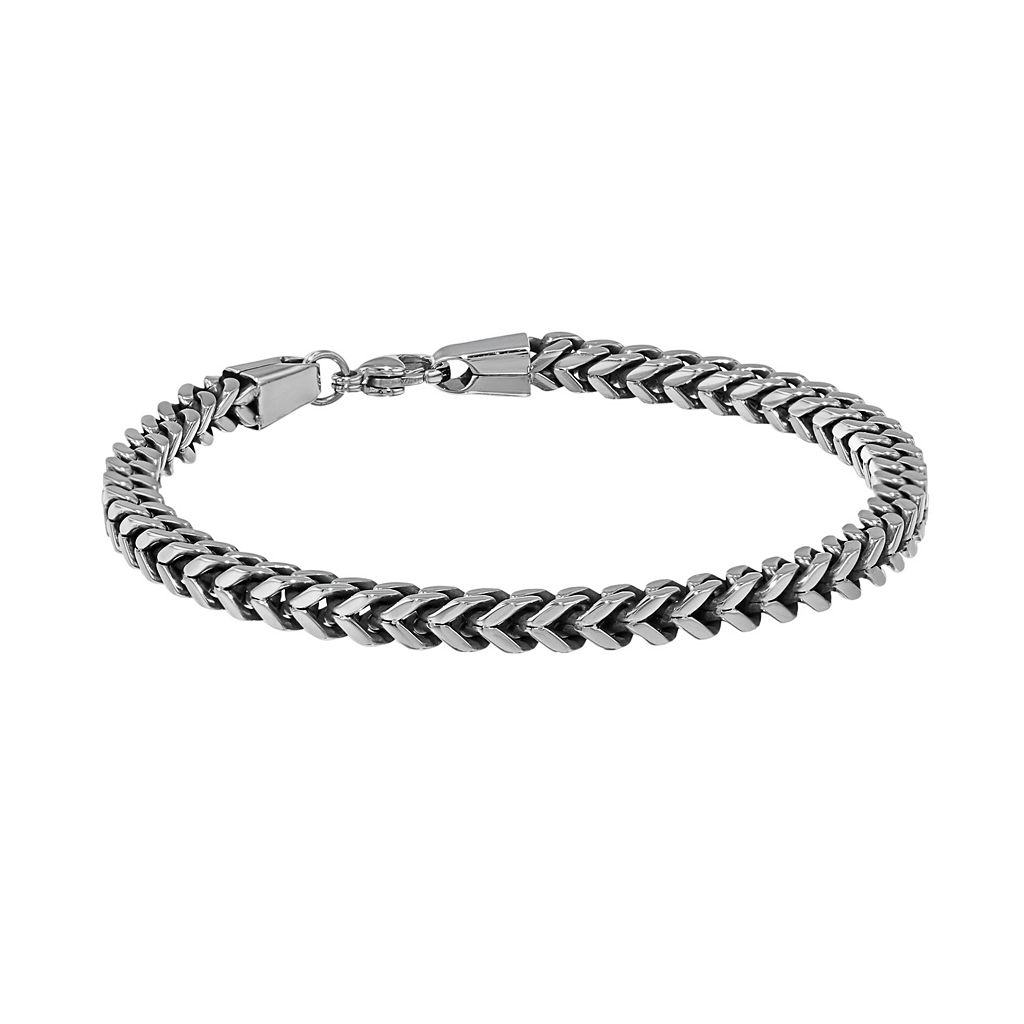 LYNX Two Tone Ion-Plated Stainless Steel Wheat Chain Bracelet - Men