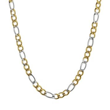 LYNX Two Tone Ion-Plated Stainless Steel Figaro Chain Necklace - 20 in. - Men
