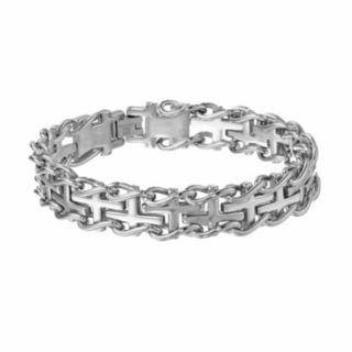 LYNX Stainless Steel Sideways Cross Railroad  Bracelet -  Men