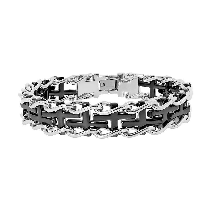 LYNX Two Tone Ion-Plated Stainless Steel Sideways Cross Railroad Bracelet - Men, Men's, Size: 9 , Black Bracelet Details: Length: 9 in. Clasp: safety Metal: stainless steel, black ion-plated stainless steel Promotional offers available online at Kohls.com may vary from those offered in Kohl' Size: 9 . Gender: male. Age Group: adult.