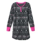 SO® Fairisle Microfleece Henley Nightgown - Girls 7-16
