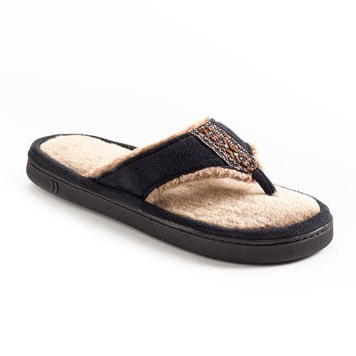 b80085fa1ea isotoner Microsuede Faux-Fur Thong Slippers - Women