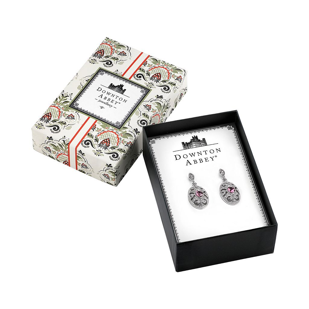 Downton Abbey Textured Oval Drop Earrings