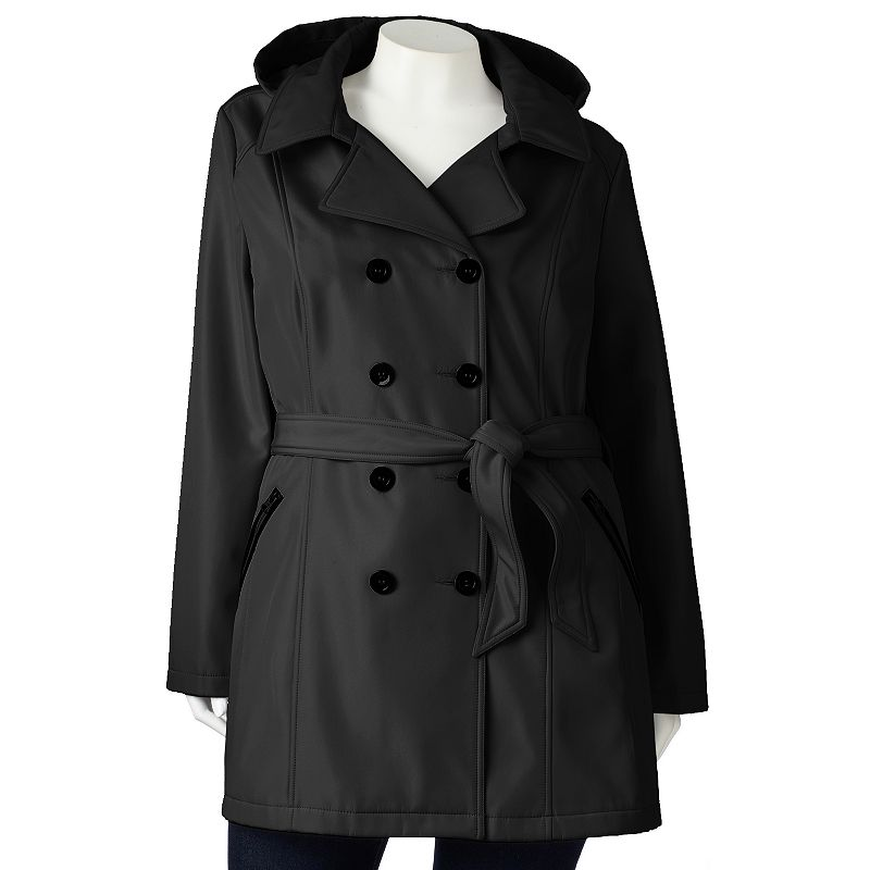 Sebby Hooded Double-Breasted Trench Coat - Women's Plus