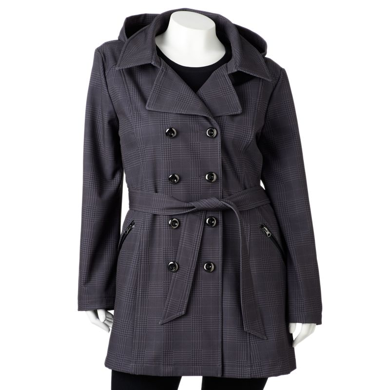 Sebby Hooded Plaid Double-Breasted Trench Coat - Women's Plus