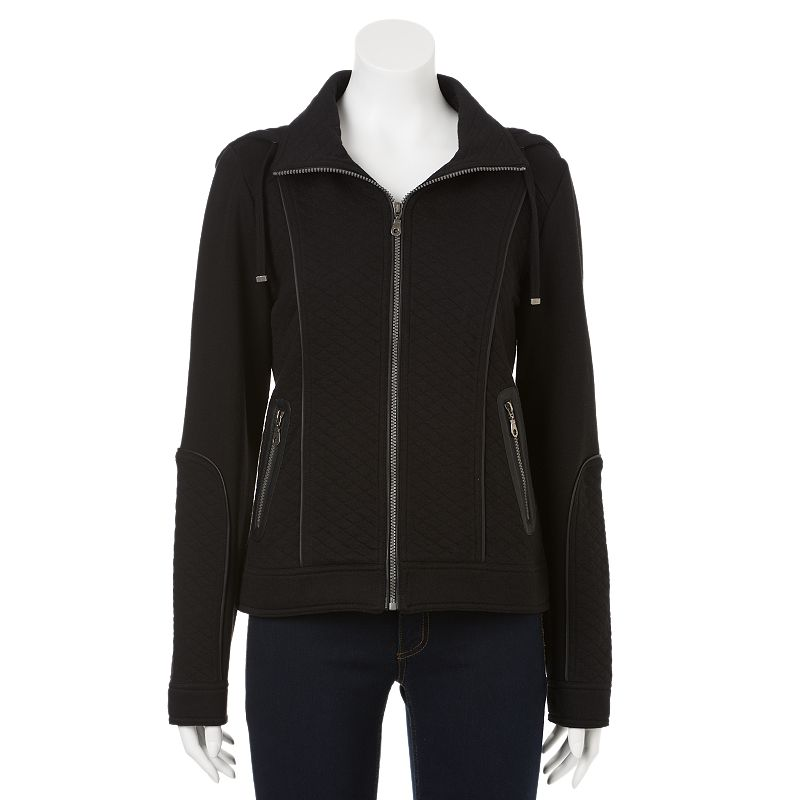 Polyester Spandex Asymmetrical Jacket further 3281 additionally Polyester Spandex Jacket furthermore Red Dot Womens Cowl Neck Top together with Faux Leather Quilted Outerwear. on leather women jackets for kohls