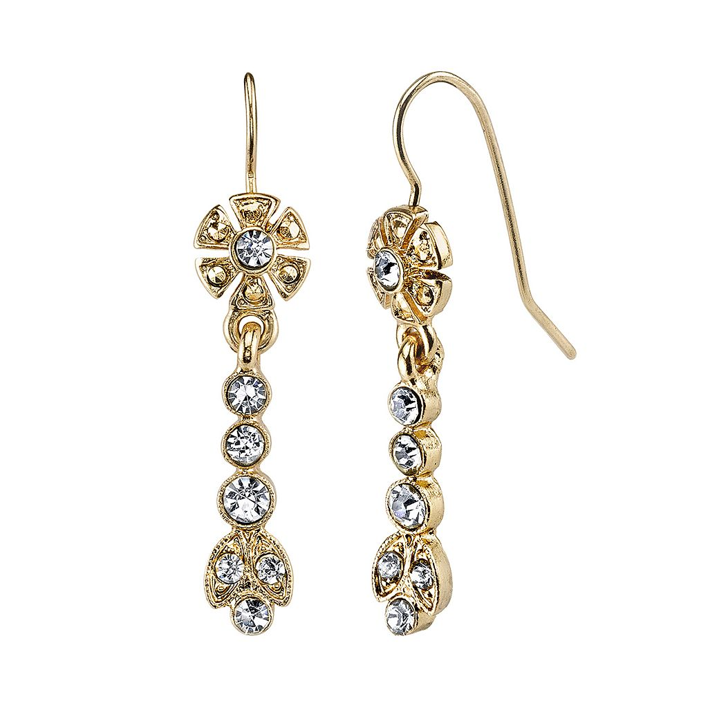 Downton Abbey® Flower Linear Drop Earrings