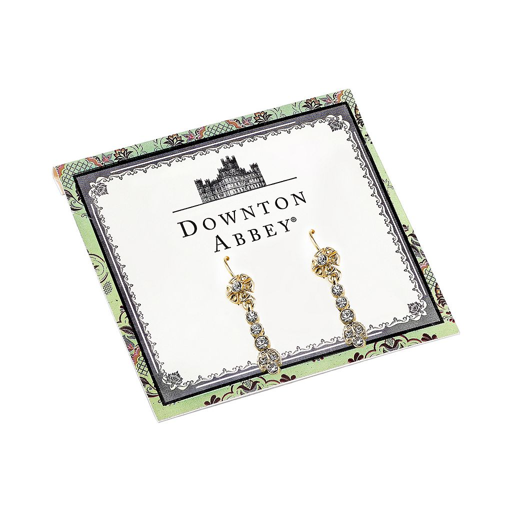 Downton Abbey Flower Linear Drop Earrings