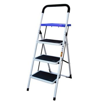 AmeriHome 3-Step Steel Metal Ladder with Paint Tray