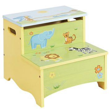 Guidecraft Savanna Smiles Storage Step-Up Stool