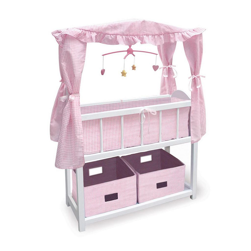 Badger Basket Canopy Doll Crib with Baskets, Bedding & Mobile