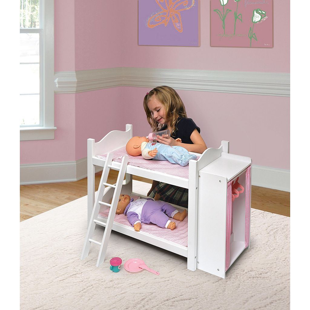 Badger Basket Doll Bunk Bed with Storage Armoire