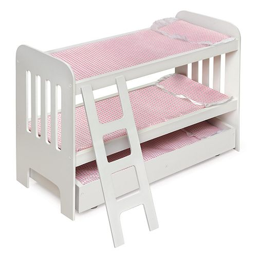 Badger Basket Doll Bunk Bed With Trundle