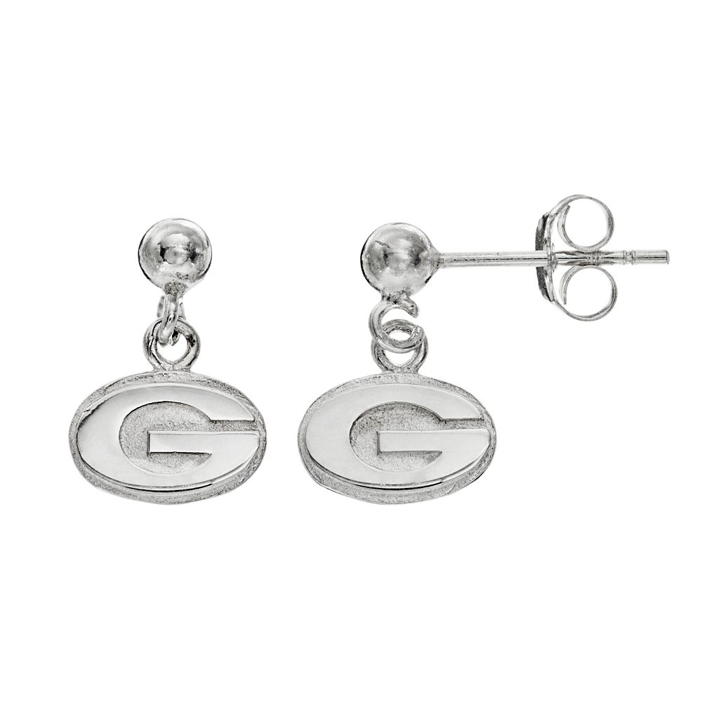Dayna U Georgia Bulldogs Sterling Silver Drop Earrings
