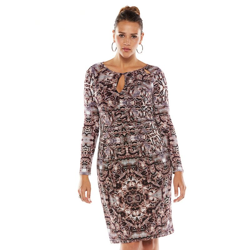 Jennifer Lopez Snakeskin Keyhole Sheath Dress - Women's Plus Size