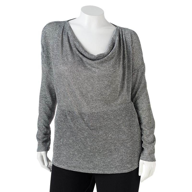Apt. 9 Drapeneck Lurex Sweater - Women's Plus (Black)
