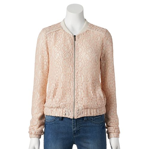 Women's LC Lauren Conrad Lace Bomber Jacket
