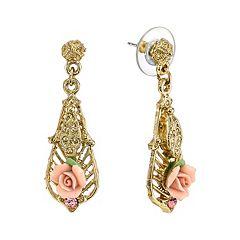 1928 Porcelain Rose Filigree Drop Earrings