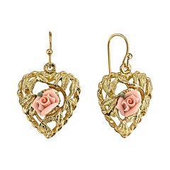 1928 Porcelain Rose Openwork Heart Drop Earrings