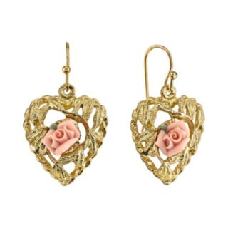 1928 Porcelain Rose Openwork Heart Drop Earrings