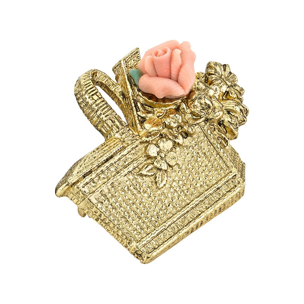 1928 Basket & Porcelain Rose Pin