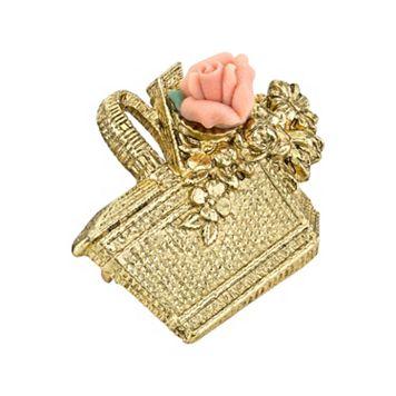 1928 Basket & Porcelain Rose Pin