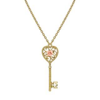 1928 Porcelain Rose Key Necklace