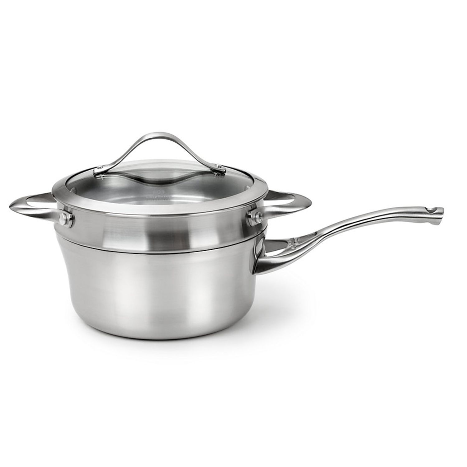 calphalon stainless 25qt covered stainless steel saucepan with double boiler insert