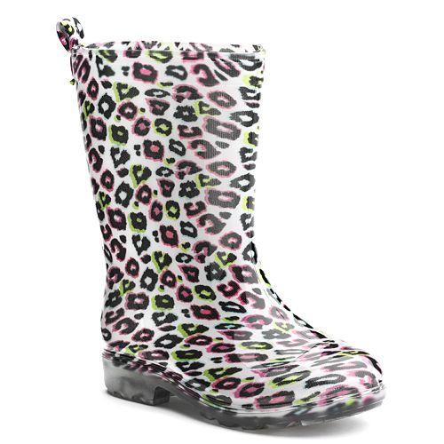 ca7f356cab34 Shiny Rainbow Leopard Rain Boots - Girls