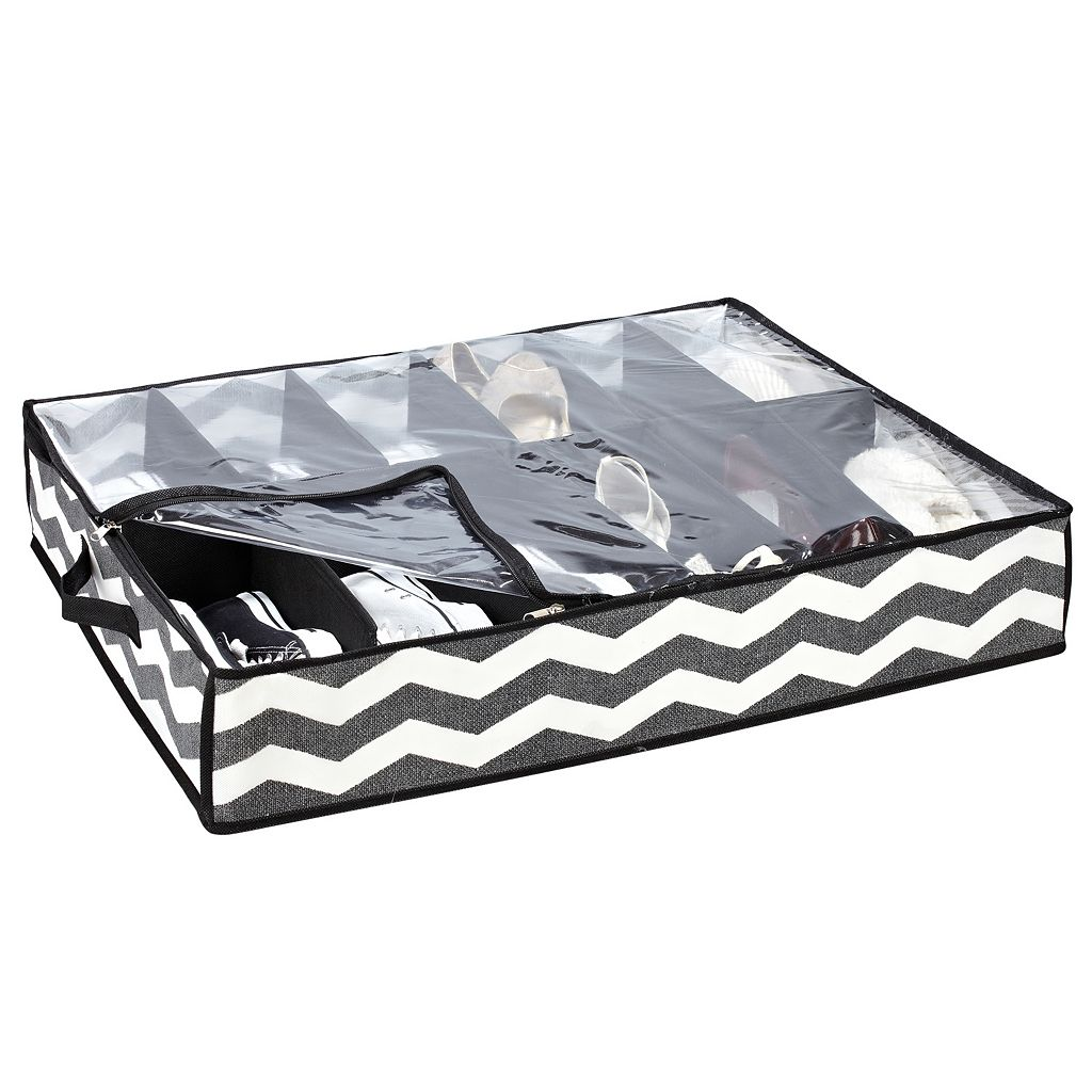 The Macbeth Collection Closet Candie Collapsible Chevron 12-Pair Under-Bed Shoe Organizer