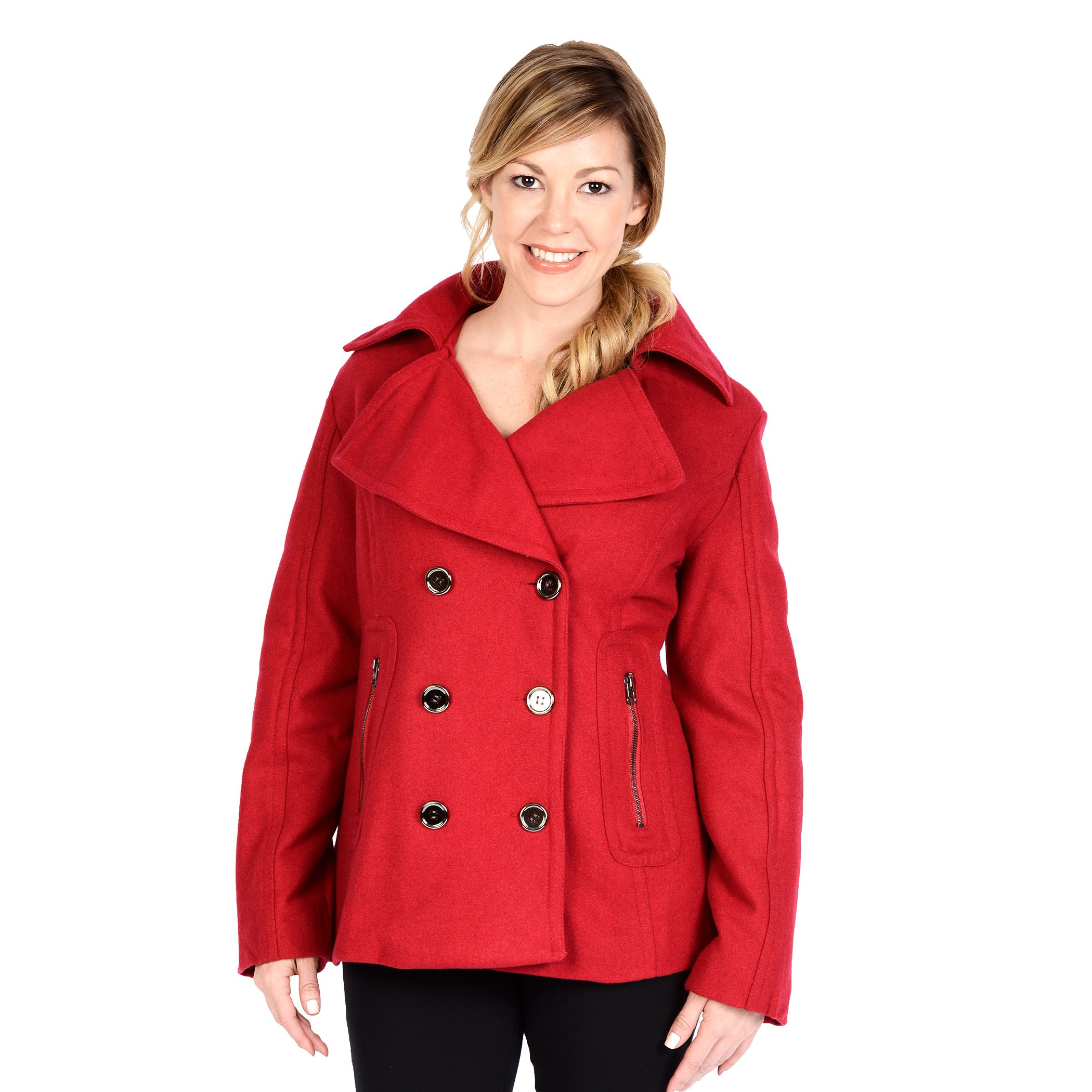 Women's double breasted pea coat with hood