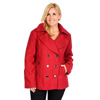 Plus Size Excelled Double-Breasted Wool-Blend Peacoat