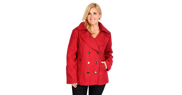 Plus Size Excelled Double Breasted Wool Blend Peacoat