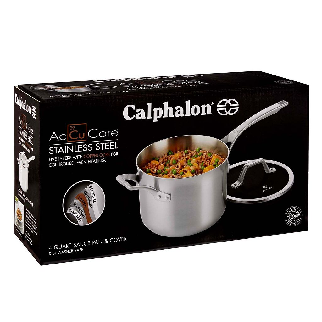 Calphalon AccuCore Stainless Steel 4-qt. Covered Saucepan