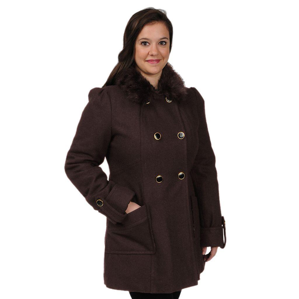Plus Size Excelled Wool-Blend Walker Coat