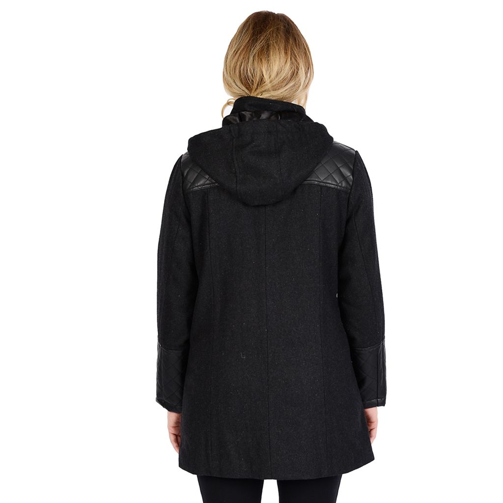 Women's Excelled Hooded Toggle Wool-Blend Coat