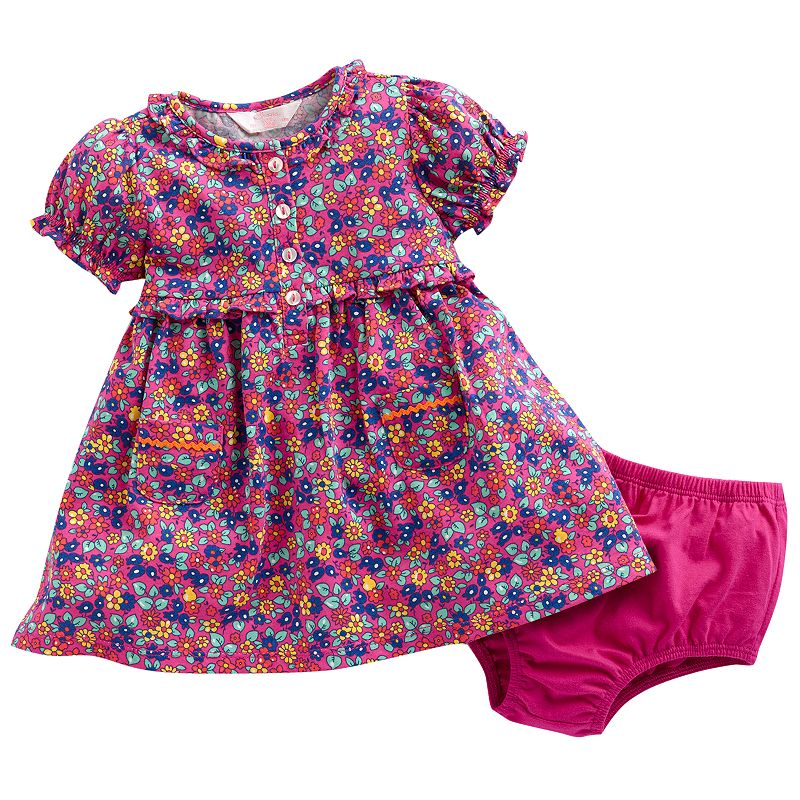 Chaps Floral Knit Dress - Baby