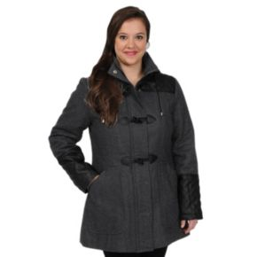 Plus Size Excelled Hooded Toggle Wool-Blend Coat