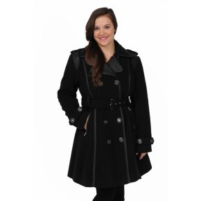 Women's Excelled Double-Breasted Faux-Wool Trench Coat