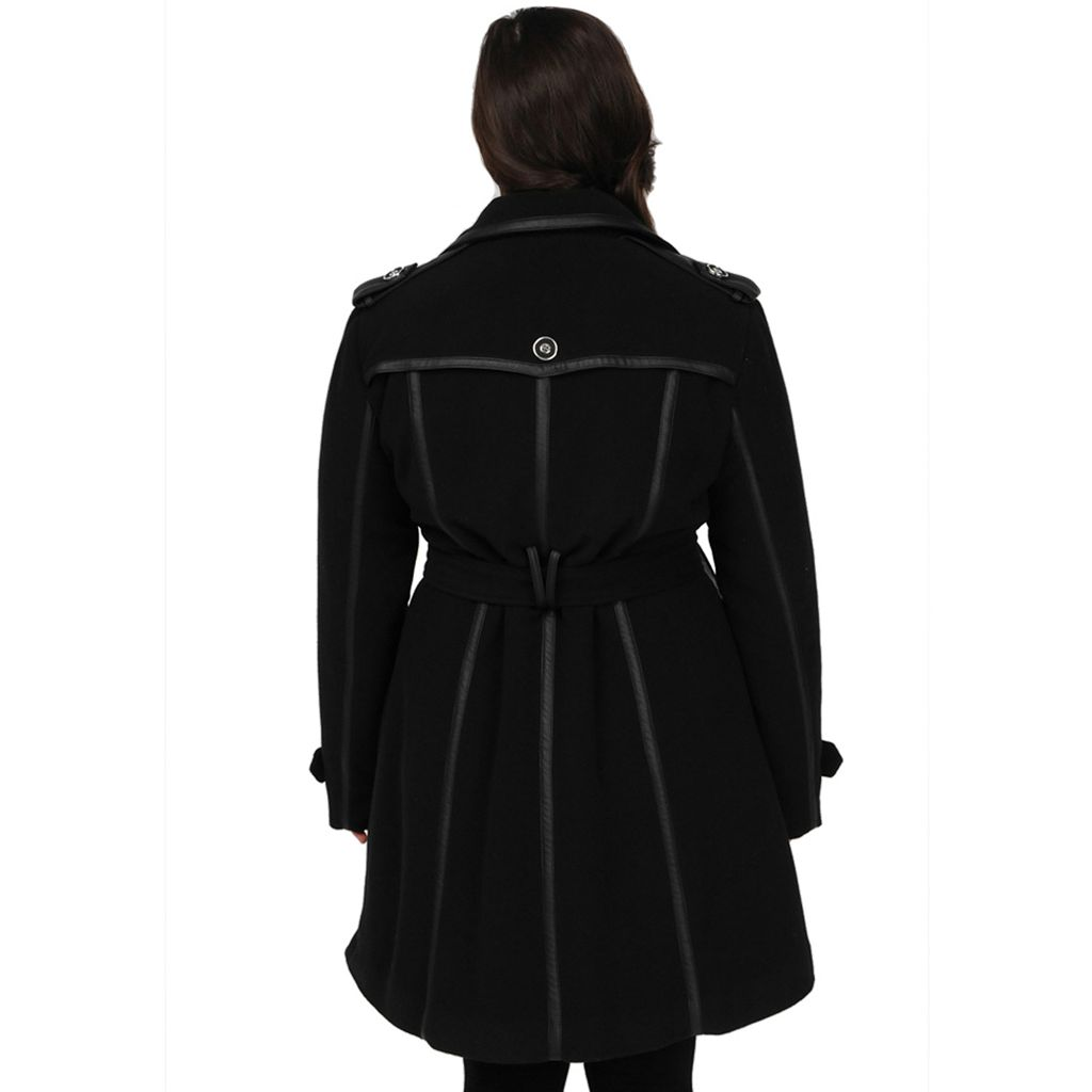 Plus Size Excelled Double-Breasted Faux-Wool Trench Coat