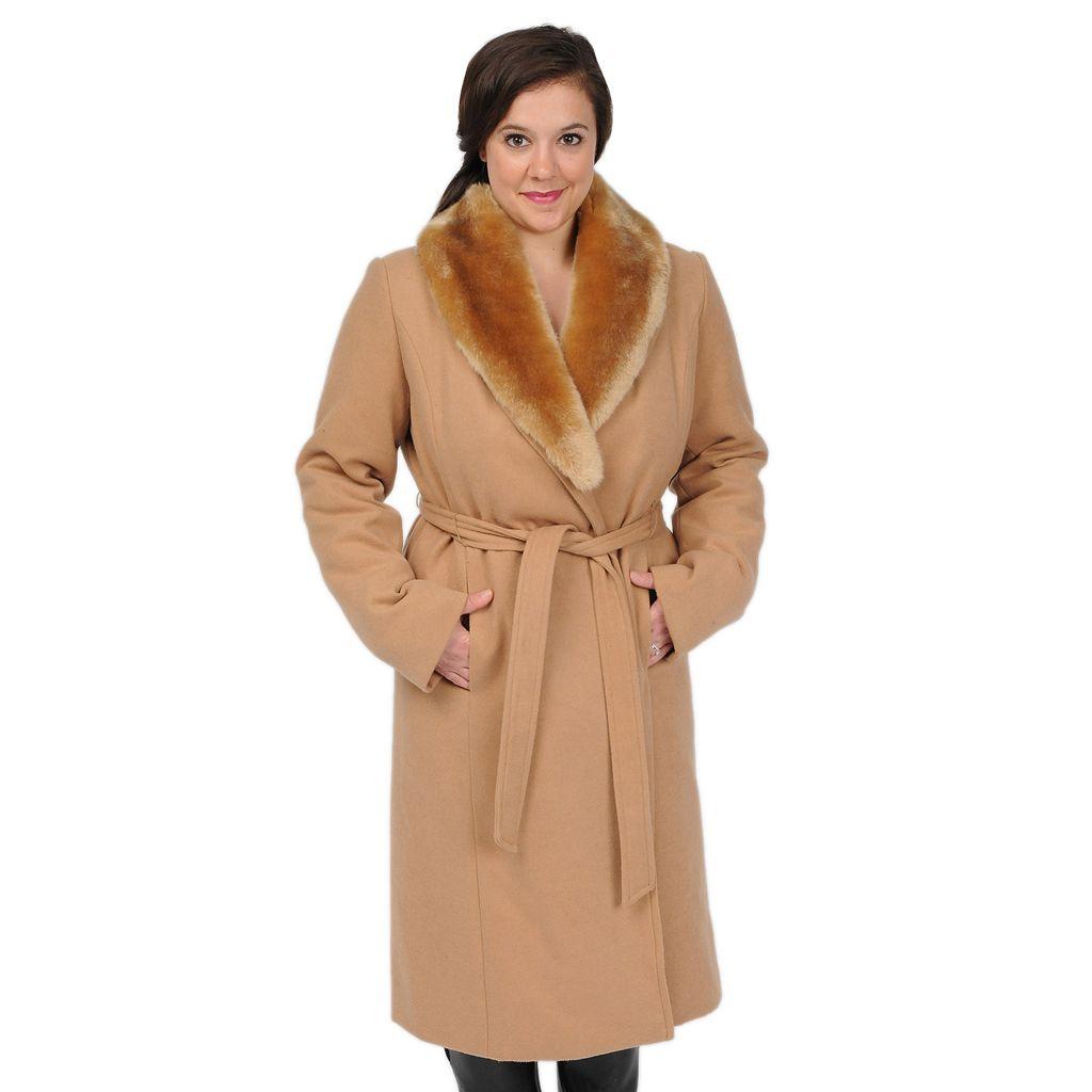 Women's Excelled Faux-Wool Swing Coat