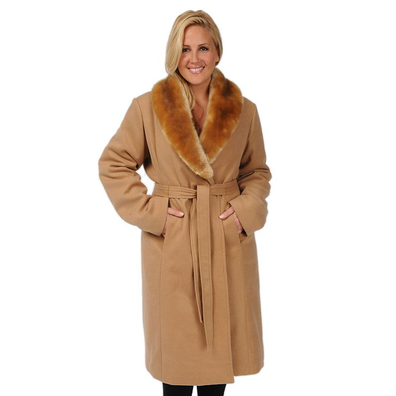Women's Excelled Faux-Wool Swing Coat Plus
