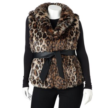 Plus Size Excelled Leopard Faux-Fur Vest
