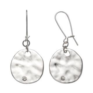 Hammered Disc Drop Earrings
