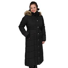 4754e577773 Women s Excelled Hooded Long Puffer Coat. Black Brown