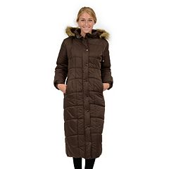 Womens Excelled Hooded Long Puffer Coat by