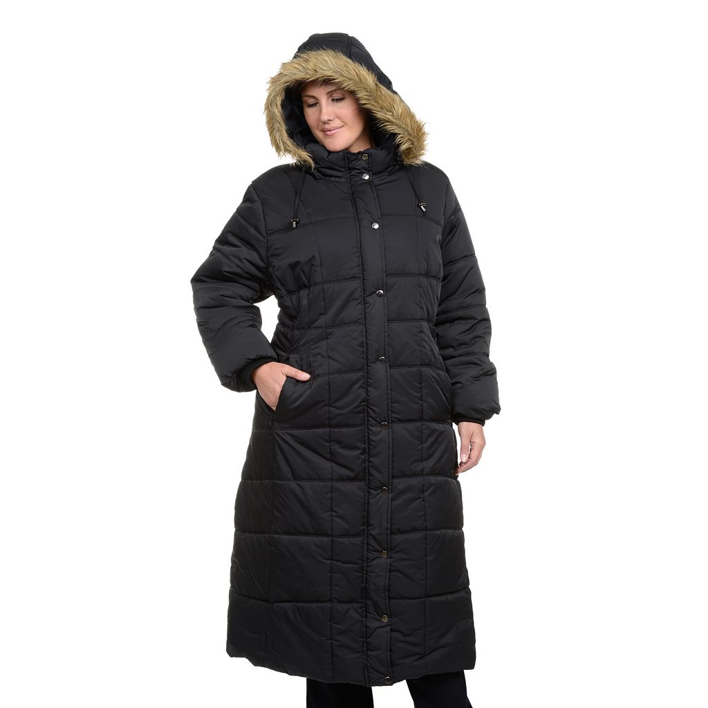Plus Size Excelled Hooded Long Puffer Coat