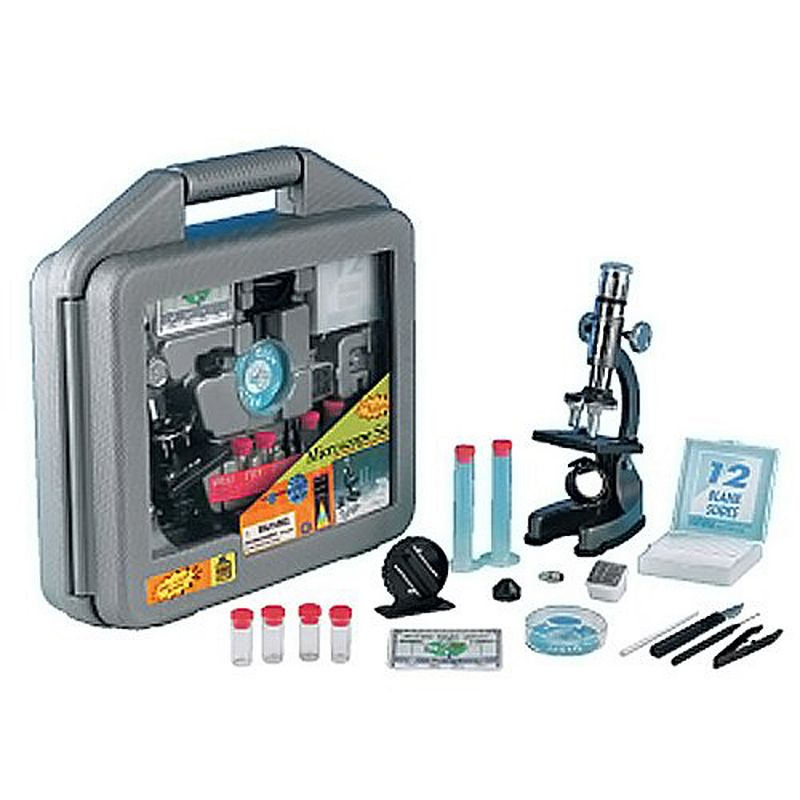 Elenco Science Tech Microscope Set, Multicolor Microscope with 8X/25X/50X objective lenses and die-cast body Easy-to-carry case What's Included Microscope & spare bulb Micro data bank Micro slicer 12 glass slides & slide covers 12 labels Petri dish Scalpel, needle & tweezers 2 graduated cylinders Ages 10 years & up Requires 2 AA batteries (not included) Model no. EDU-41011 Promotional offers available online at Kohls.com may differ from those offered in Kohl's stores. Size: One Size. Color: Multicolor. Gender: Unisex. Age Group: Kids.
